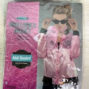 PINK LADIES satin JACKET adult 50's costume